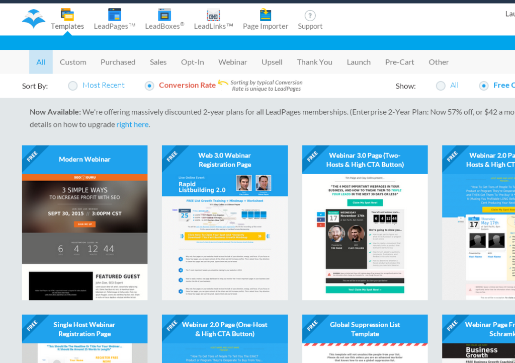 leadpages free templates